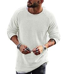 013ae69bd0dc Mens Knitting Shirt Solid Long-Sleeved O-Neck Regular Fit Casual T-shirt on  sale-NewChic