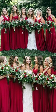 simple dark red long bridesmaid dresses, modest v neck wedding party dresses, mismatched bridesmaid dresses with keyhole Red Bridesmaids, Mismatched Bridesmaid Dresses, Red Wedding Dresses, Wedding Colors, Bridal Dresses, Bridesmaid Outfit, Christmas Bridesmaid Dresses, Wedding Ideas, Bridesmaid Makeup