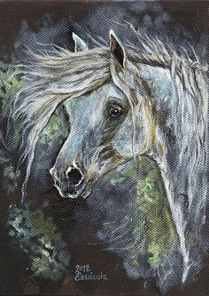 Grey horse original oil painting on board