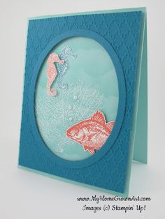 """By the Tide:  Materials: Stamps: By the Tide  Paper: Pool Party card stock - 4 1/4"""" x 11"""" Island Indigo card stock - 4"""" x 5 1/4"""" Ink: Pool Party Tangerine Tango Island Indigo Whisper White Craft  Embellishments: Pearls Accessories: Ovals Framelits  Fancy Fan EF Dimensionals  Whisper White E/Pwdr Iridescent Ice E/Pwdr"""