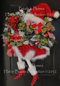 Christmas Wreath-Santa Diva Door Decoration MADE to ORDER item (Please see Production Time/Ship Date) Petals Plumes Original Design via Etsy Wreath Crafts, Diy Wreath, Holiday Crafts, Wreath Fall, Wreath Ideas, Christmas Door, All Things Christmas, Christmas Holidays, Holiday Wreaths