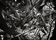 Nicolas Delort é um ilustrador canadense que já trabalhou com empresas como a Blizzard e a Lucasfilm. Suas obras em preto e branco revelam belíssimos universos fantásticos.