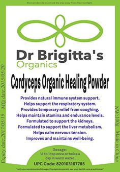 Cordyceps Organic Ancient Chinese Healing Powder Energy Booster Longevity Energy Herb Immune System Booster Stress Relief Liver and Kidney Support Blood Sugar Balance Relief From Cold and Cough Anti Aging Properties Ying and Yang Balance Dr Brigitta's Organics http://www.amazon.com/dp/B00KPT2COS/ref=cm_sw_r_pi_dp_wmoGvb1FPPHPC