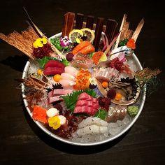 Sashimi by by Sushi Donuts, My Sushi, Sushi Buffet, Sushi Roll Recipes, Japanese Food Sushi, Sashimi Sushi, Edible Food, Food Places, Food Menu