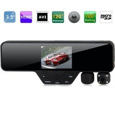 3.5 Inch HD Dual Lens Rear View Mirror and Car DVR With 180 Degree Rotatable and 120 Viewing Degree