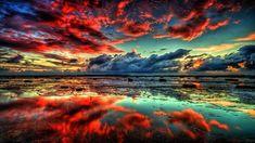 Puesta de sol en azul y rojo