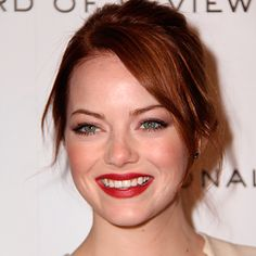 Hair Updos: The Easy-To-Copy Styles From The Red Carpet - Emma Stone with textured chignon from InStyle.com