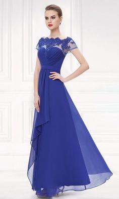 Royal Blue Lacy Long Evening Dress #everpretty #eveningdress