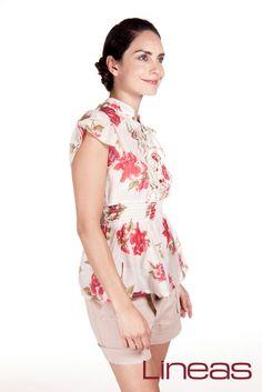 Blusa, Modelo 17891. Precio $170 MXN #Lineas #outfit #moda #tendencias #2014 #ropa #prendas #estilo #primavera #blusa