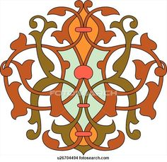 Clipart of Red, green and orange leaf pattern Arabesque Design u26704494 - Search Clip Art, Illustration Murals, Drawings and Vector EPS Graphics Images - u26704494.eps