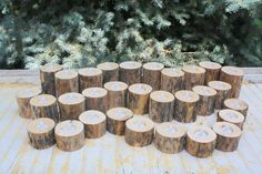 30 Rustic Pine Log Tealight Candle Holders - rustic wedding, woodland wedding, country wedding decorations