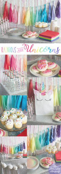 Rainbow Unicorn Birthday Party from The Reinvented Housewife! baby toddler girl first second third fourth fifth sixth seventh birthday party, paper straws, milk bottles, diy bracelets, diy goodie bags, custome unicorn invitations, tissue tassel banner, sequin tablecloth, sprinkle snack cups, goodie bag ideas
