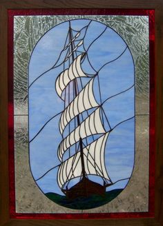 Tall Ship stained glass window