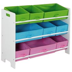 Create an energetic and exciting space by arranging these multicolored Home Basics furniture shelves and cubbies in your child's room.