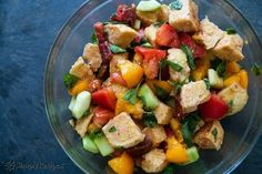 Panzanella Bread Salad — Recipe from Simply Recipes Clean Eating Snacks, Healthy Eating, Gourmet Recipes, Healthy Recipes, Top Recipes, Healthy Dinners, Cookie Recipes, Healthy Chili, Dinner Healthy