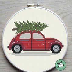 Cross Stitch Tree, Cute Cross Stitch, Cross Stitch Alphabet, Cross Stitch Charts, Christmas Truck With Tree, Christmas Car, Christmas Themes, Christmas Decorations, Wedding Cross Stitch Patterns