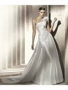 Taffeta A-Line Ruffled One-Shoulder Strap Asymmetrical Neckline Wedding Dress