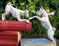 Paper mâché basenjis from the Hounds of Bath