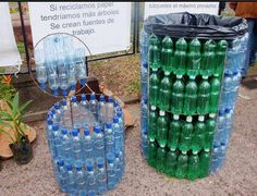 plastic bottles as the walls/frame/bucket/barrel holder for plastic bag liners (dustbin)