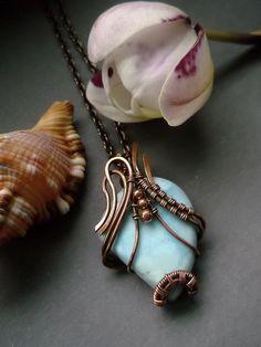 Wire wrapped pendant Larimar pendant Copper by ElanorStudio