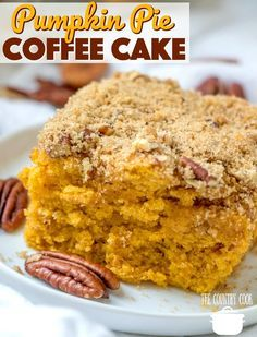 Pumpkin Pie Coffee Cake with a delicious crumble topping is the perfect homemade sweet treat to have with your morning coffee or for dessert! Pumpkin pie coffee cake Pumpkin Pie Coffee Cake recipe from The Country Cook Pumpkin Pie Coffee Cake Recipe, Pumpkin Coffee Cakes, Pumpkin Dessert, Pumpkin Drinks, Pumpkin Pumpkin, Pumpkin Pie Cupcakes, Pumpkin Cake Recipes, Pumpkin Spice, Vegan Pumpkin