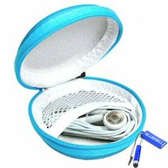 Amazon.com: Bluecell Light Blue Color PU Leather Earphone Hard Case/bag: MP3 Players & Accessories