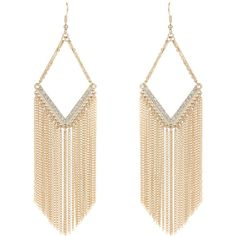 Jane Norman Gold Statement Fringe Earrings (86 HRK) ❤ liked on Polyvore featuring jewelry, earrings, accessories, brincos, bijoux, gold, earring jewelry, gold jewelry, yellow gold jewelry and fringe earrings