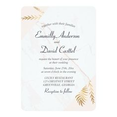 Elegant Pastel Pink Marble Gold Wedding Card Customizable Invitations #beach #summer #wedding #invitation #weddinginvitation