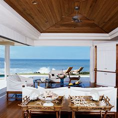 15 Idea-Filled Patios and Porches from Coastal Living magazine. Outdoor Rooms, Indoor Outdoor, Outdoor Living, Outdoor Cabana, Pool Cabana, Outdoor Patios, Outdoor Kitchens, Outdoor Furniture, Coastal Living Rooms