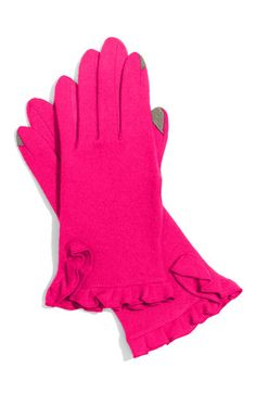 Cute ruffled gloves with textured finger for touch screens.