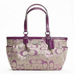 Authentic Coach Gallery Optical Signature Tote Shoulder Bag Khaki Rose 20444