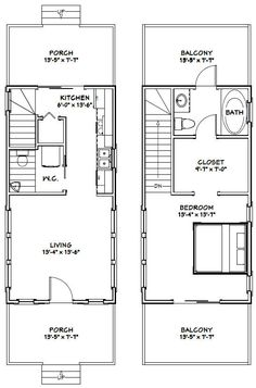 PDF house plans, garage plans, shed plans. Cabin Floor Plans, Garage House Plans, Small House Plans, Layouts Casa, House Layouts, Casa Loft, Narrow House, A Frame House, Apartment Plans