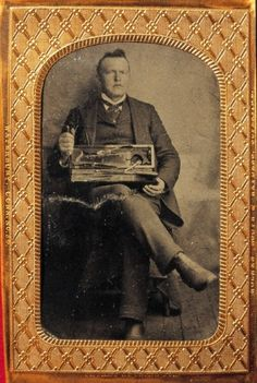 Daguerreotype of a surgeon with his instruments (ca. 1860).