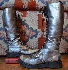 Teenage Riot Girl Silver Leather 20 Eye Dr. by CoralLaceVintage, $205.00