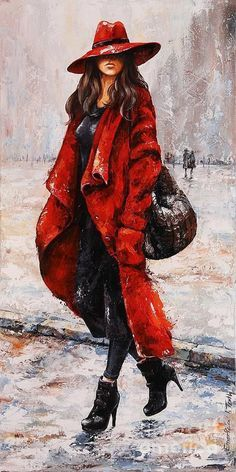 Rain Painting - Rainy Day - Red and black by Emerico Imre Toth Rain Painting, Rain Art, Feather Dress, Beautiful Paintings, Cool Suits, Lady In Red, Watercolor Art, Drawings, Artwork