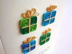 Birthday Card Paper Quilled Card Paper Quilling by ElinaQuills