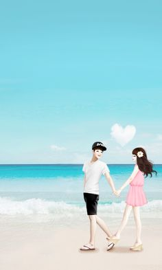 "It's ""pink Color"" day Love Cartoon Couple, Cute Love Cartoons, Cute Couple Art, Anime Love Couple, Cute Anime Couples, Anime Korea, Korean Anime, Lovely Girl Image, Girls Image"