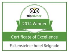 "FALKENSTEINER HOTEL BELGRADE AWARDED 2014 TRIPADVISOR CERTIFICATE OF EXCELLENCE Recognised as a Top Performing Hotel as Reviewed by Travellers on the  World's Largest Travel Site  Belgrade, Serbia - May 21st, 2014 - Falkensteiner Hotel Belgrade was awarded TripAdvisor's ""Certificate of Excellence"" in 2014, which honours hospitality excellence, and is given only to companies that consistently deserve outstanding traveller reviews on portal TripAdvisor."