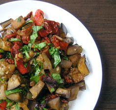 Eggplant Salad with Roasted Red Peppers, Sun Dried Tomatoes, and Basil