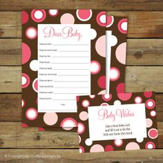 Printable baby wishes baby shower game, pink polka dots