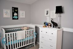 brayden's nursery - modern zoo {gray & teal}