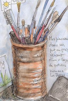"""SKETCHBOOK """"Mes pinceaux dans un pot en grès"""" © (by Framboisine Berry)"""