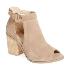 Women's Sole Society 'Ferris' Open Toe Bootie ($90) ❤ liked on Polyvore featuring shoes, boots, ankle booties, taupe suede, taupe booties, suede open toe booties, peep-toe ankle booties, taupe suede booties and peep toe ankle booties