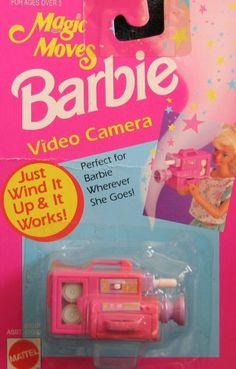 "Magic Moves Barbie VIDEO CAMERA - Wind It Up & It Works! (1993 Arcotoys, Mattel) by Arcotoys, Mattel. $68.99. Perfect for Barbie wherever she goes! This Video Camera is intended for Barbie & 11.5"" size dolls; dolls NOT included. Can be used w/other size dolls, as preferred.. All the provided details are to the best of my ability; colors, styles, sizes & details are approximate & may vary.. Magic Moves Barbie Video Camera, Just Wind It Up & It Works! is a 1993 Arcotoys, ..."