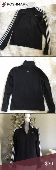 Adidas jacket Black zip front jacket with triple white stripe, 92% polyester 8 % spandex . Good condition / some piling 🚫trades adidas Jackets & Coats