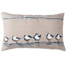 Bring the outdoor allure of the coast to your boudoir and living rooms with the Seagulls cushion. #linenandmoore