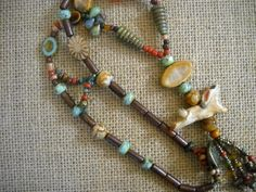 'HAZEL' ceramic rabbit bead necklace.  AVAILABLE AT VINTAGE PORTAL.