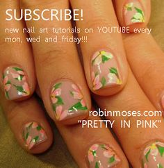 Nail-art by Robin Moses: monster energy drink nail art design, pretty in pink nail art, pink flower nail, spring nails, spring critters, pin...