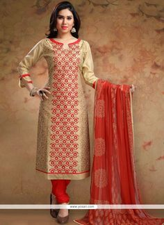 Add a young burst of colour to the wardrobe with this beige and red chanderi churidar designer suit. The print work appears to be like chic and ideal for festival and party. Comes with matching bottom…MoreMore Salwar Kameez Neck Designs, Kurta Neck Design, Salwar Designs, Kurti Designs Party Wear, Latest Salwar Suit Designs, Neck Designs For Suits, Dress Neck Designs, Chudidhar Designs, Pakistani Dresses Casual