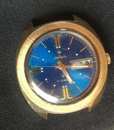 Vintage Japan Stellaris Q 17 Jewels Blue Dial Day Week Month 5023A SEARS AR0298…